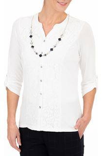 Anna Rose Lace Panel Blouse With Necklace