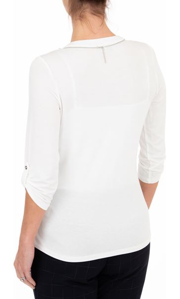 Anna Rose Lace Panel Blouse With Necklace Ivory - Gallery Image 2