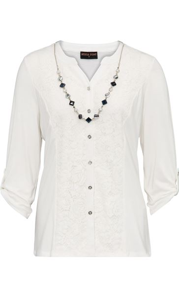 Anna Rose Lace Panel Blouse With Necklace Ivory - Gallery Image 3