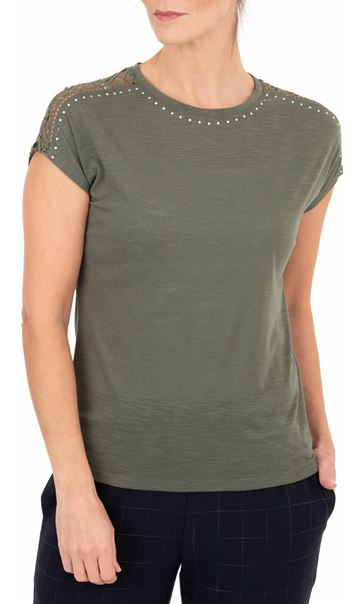Anna Rose Embellished Short Sleeve Jersey Top Khaki - Gallery Image 1