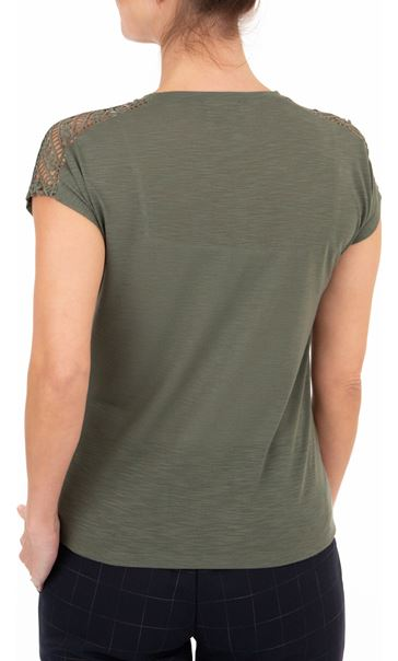 Anna Rose Embellished Short Sleeve Jersey Top Khaki - Gallery Image 2