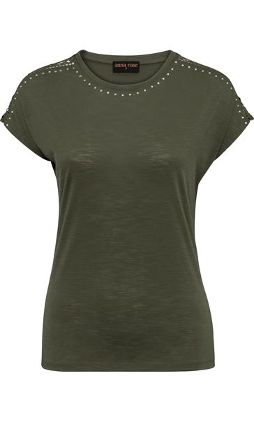 Anna Rose Embellished Short Sleeve Jersey Top Khaki - Gallery Image 3