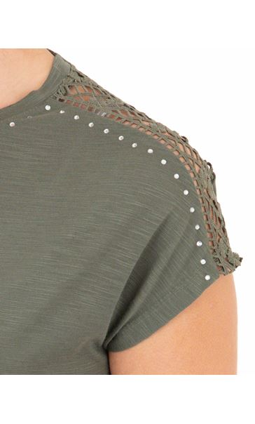 Anna Rose Embellished Short Sleeve Jersey Top Khaki - Gallery Image 4
