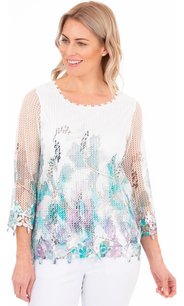 Crochet And Knit Print Top Green/Lilac