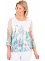 Crochet And Knit Print Top
