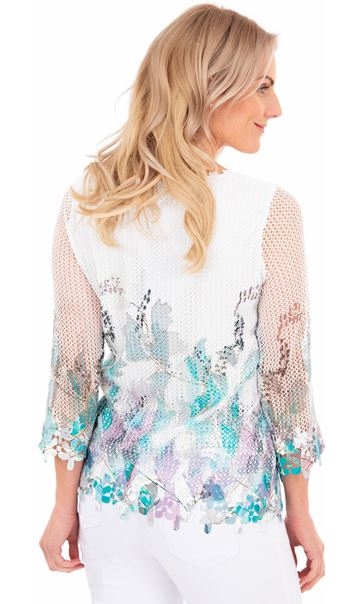 Crochet And Knit Print Top Green/Lilac - Gallery Image 2