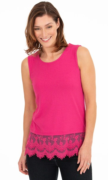 Lace Trim Sleeveless Jersey Top - Pink