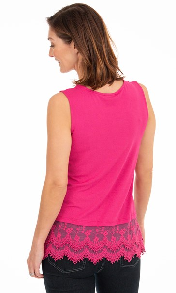Lace Trim Sleeveless Jersey Top Pink - Gallery Image 2