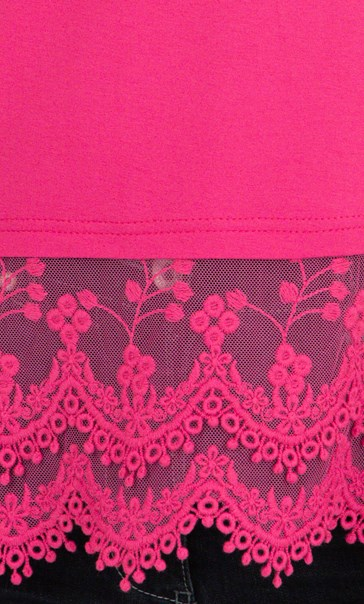 Lace Trim Sleeveless Jersey Top Pink - Gallery Image 3