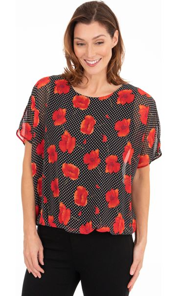 Floral And Spot Chiffon Top Black/Red