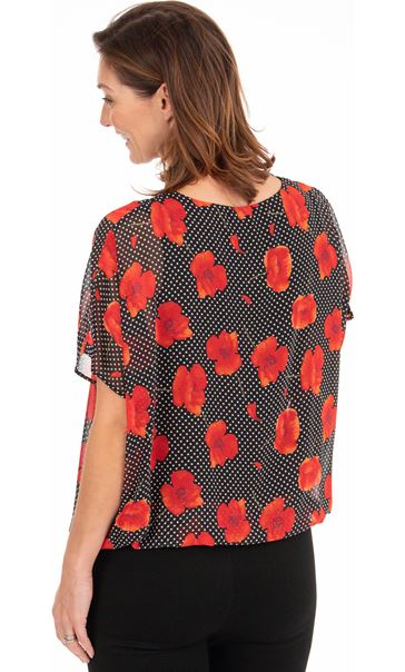 Floral And Spot Chiffon Top Black/Red - Gallery Image 2