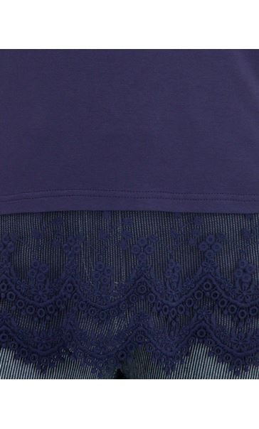 Lace Trim Sleeveless Jersey Top Blue - Gallery Image 3