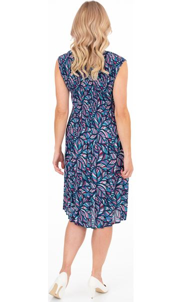 Printed Pleat Short Sleeve Dress French Blue/Cerise - Gallery Image 2