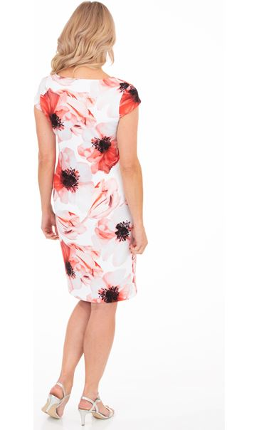 Floral Print Cap Sleeve Scuba Dress