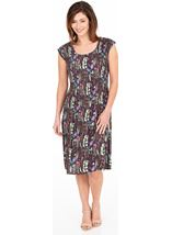 Botanical Print Pleated Dress Plum/Green - Gallery Image 1