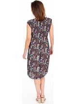 Botanical Print Pleated Dress Plum/Green - Gallery Image 2