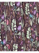 Botanical Print Pleated Dress Plum/Green - Gallery Image 3