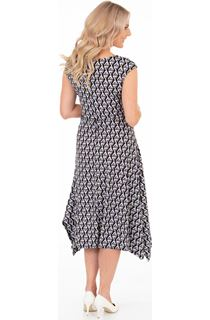 Abstract Print Dip Hem Midi Dress