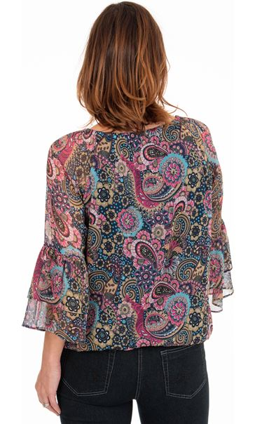 Printed Chiffon Top French Blue/Cerise - Gallery Image 2