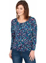 Printed Batwing Jersey Top