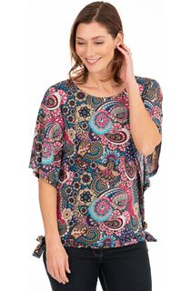 Paisley Printed Short Sleeve Top