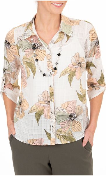 Anna Rose Printed Blouse With Necklace White/Coral/Khaki