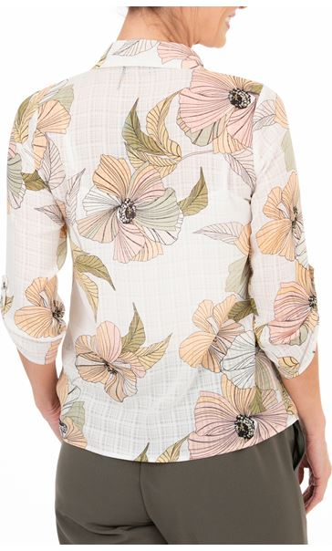 Anna Rose Printed Blouse With Necklace White/Coral/Khaki - Gallery Image 2
