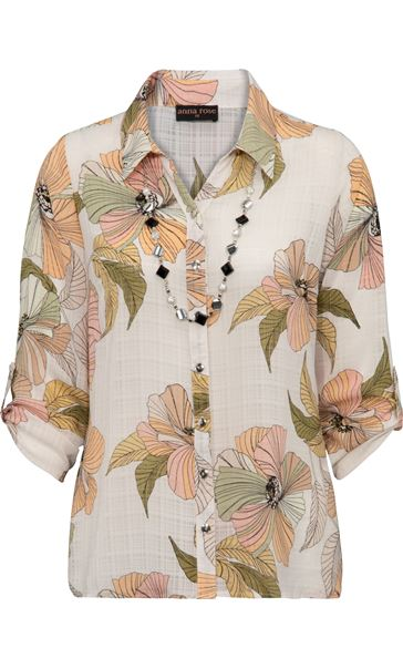 Anna Rose Printed Blouse With Necklace White/Coral/Khaki - Gallery Image 3