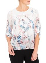 Anna Rose Embellished Floral Print Top White/Coral - Gallery Image 1