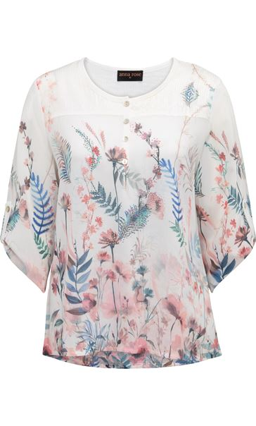 Anna Rose Embellished Floral Print Top White/Coral - Gallery Image 3
