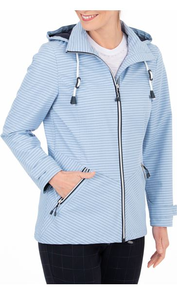 Anna Rose Stripe Zip Coat Blue Stripe