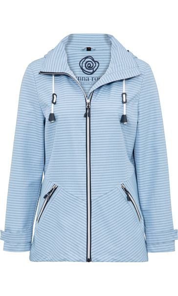 Anna Rose Stripe Zip Coat Blue Stripe - Gallery Image 3
