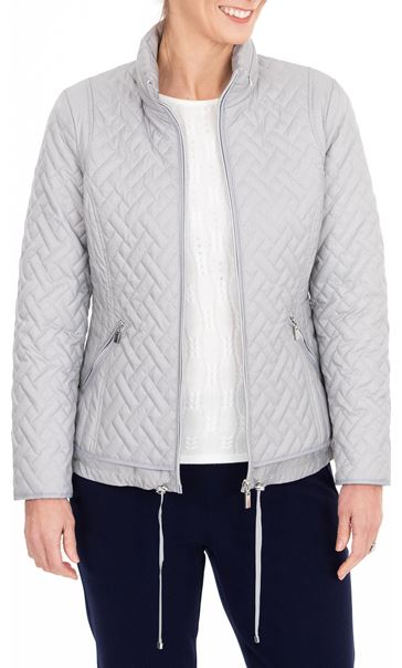 Anna Rose Quilted Zip Up Coat Silver Grey