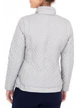 Anna Rose Quilted Zip Up Coat Silver Grey - Gallery Image 2