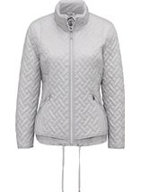 Anna Rose Quilted Zip Up Coat Silver Grey - Gallery Image 3