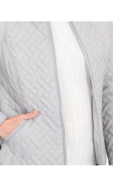 Anna Rose Quilted Zip Up Coat Silver Grey - Gallery Image 4