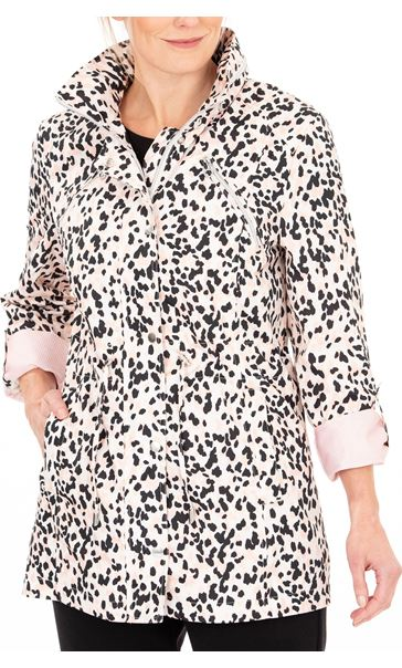 Anna Rose Animal Print Lightweight Coat Pink Leopard - Gallery Image 1