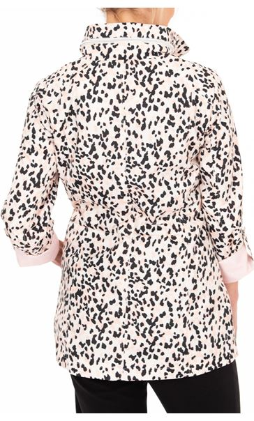 Anna Rose Animal Print Lightweight Coat Pink Leopard - Gallery Image 2