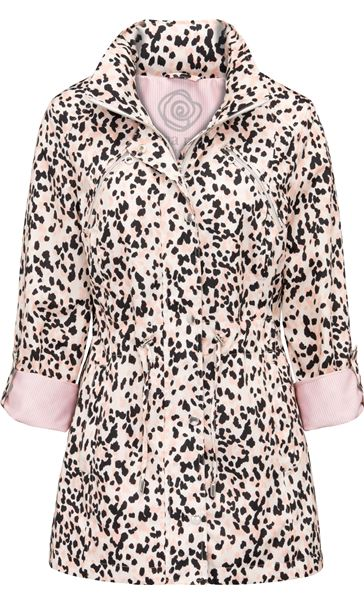 Anna Rose Animal Print Lightweight Coat Pink Leopard - Gallery Image 3