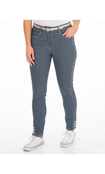 Belted Striped Stretch Trousers Blue