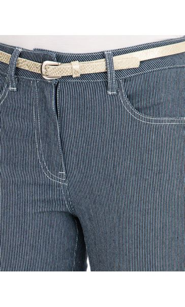 Belted Striped Stretch Trousers Blue - Gallery Image 3