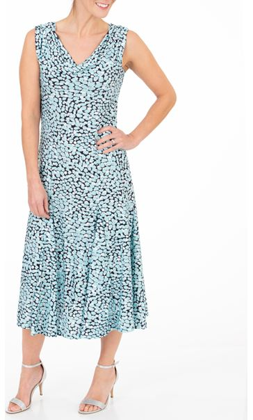 Anna Rose Printed Cowl Neck Midi Dress - Multi