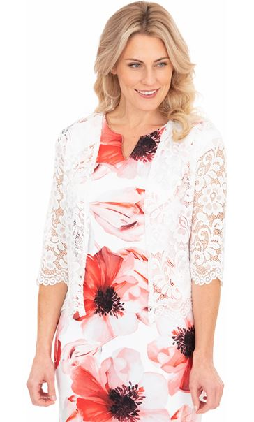Three Quarter Sleeve Open Lace Cover Up