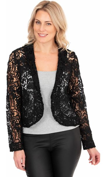 Long Sleeve Crochet Jacket - Black