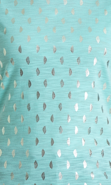 Anna Rose Foil Feather Printed Jersey Top Aqua Marine - Gallery Image 3