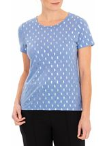 Anna Rose Foil Feather Printed Jersey Top Powder Blue - Gallery Image 1