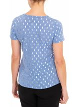 Anna Rose Foil Feather Printed Jersey Top Powder Blue - Gallery Image 2