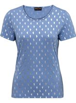 Anna Rose Foil Feather Printed Jersey Top Powder Blue - Gallery Image 3