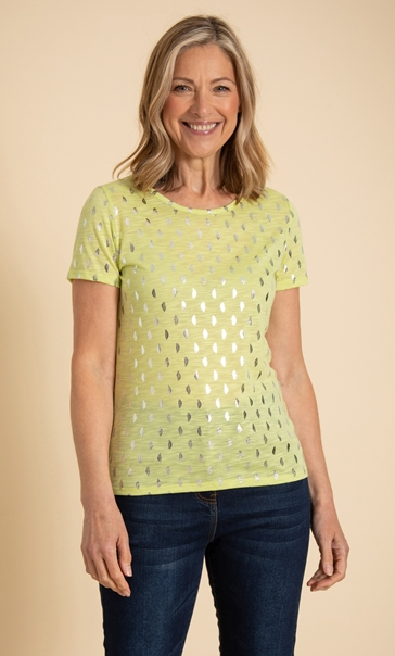 Anna Rose Foil Feather Printed Jersey Top Lime - Gallery Image 2