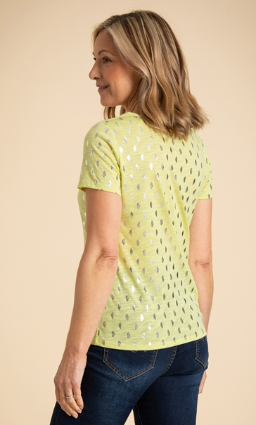 Anna Rose Foil Feather Printed Jersey Top Lime - Gallery Image 3